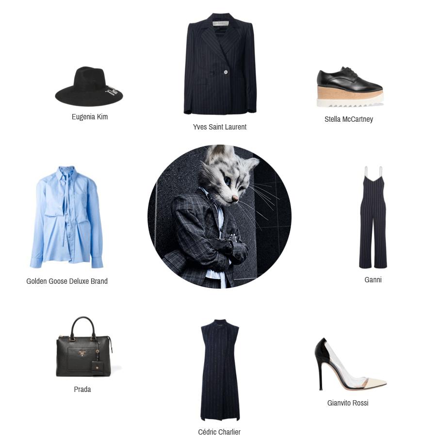 Hier sieht man Kleidungsstücke und Accessoires zum Business Trend von Yves Saint Laurent, Stella McCartney, Ganni, Gianvito Rossi, Cedric Charlier, Prada, Golden Goose Deluxe Brand und Eugenia Kim.