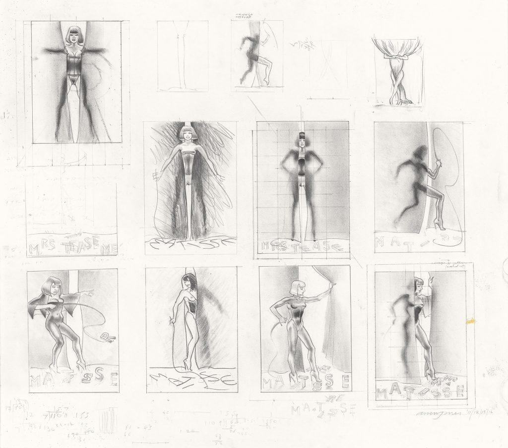 Das Bild zeigt mehrere Skizzen des Popart Künstlers Allen Jones mit dem Sujet Maitresse.