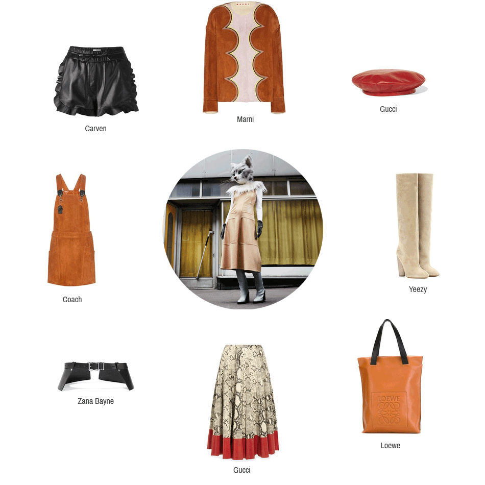 Diese Bild zeigt Kleidungsstücke und Accessoires zum Thema Leder von folgenden Marken: Marni, Gucci, Yeezy, Loewe, Zana Bayne, Coach und Carven.