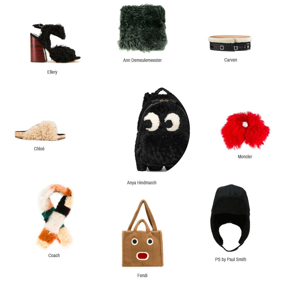Hier sieht man Accessoires aus Shearling von Ann Demeulemeester, Carven, Moncler, PS by Paul Smith, Fendi, Coach, Chloé, Ellery und Anya Hindmarch.