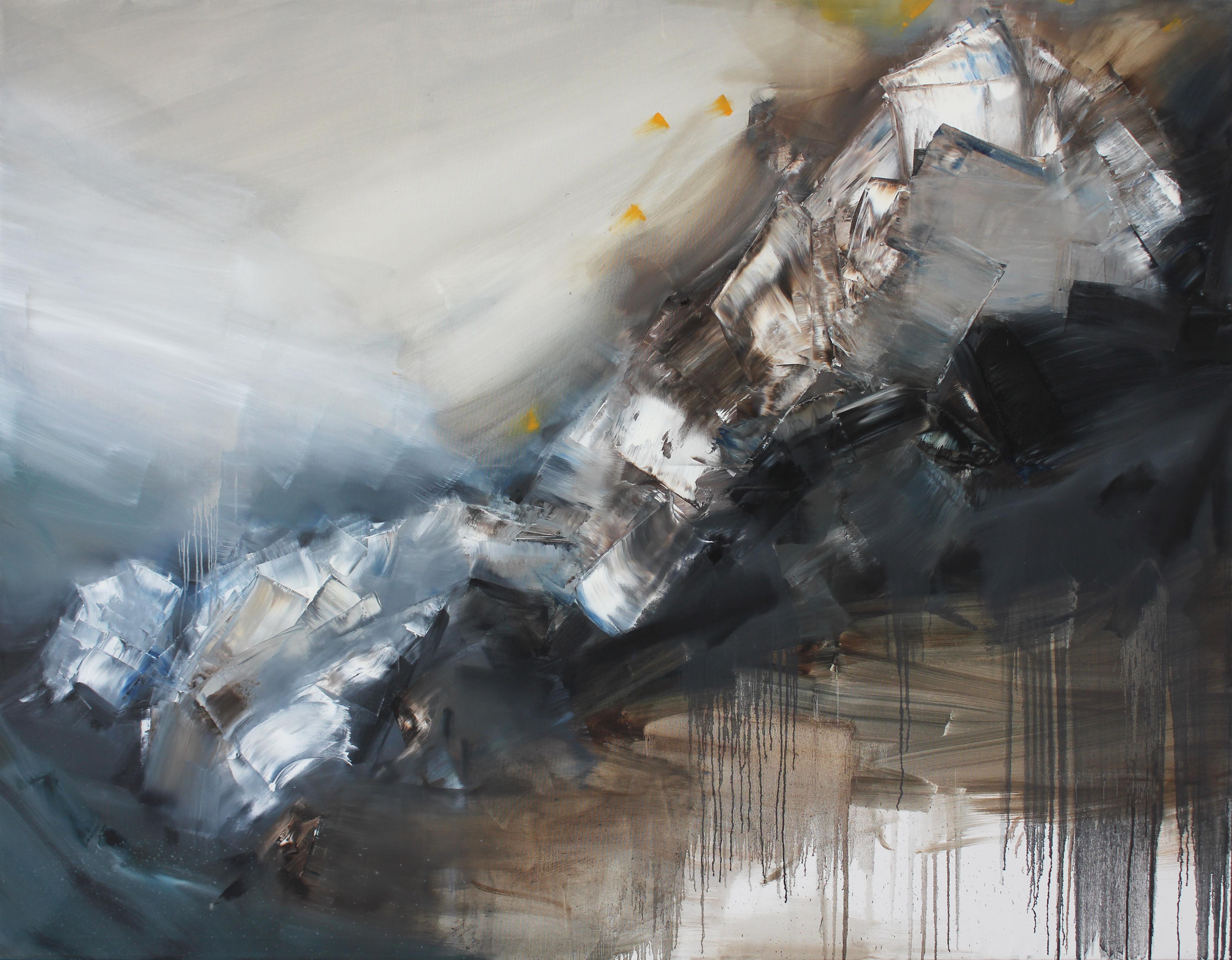 Auf der Leinwand ist abstrakt gespachtelte Ölfarbe in braunen, weißen, grauen und schwarzen Tönen zu sehen. Die Kunst von Jae Seong Ryu stammt aus dem Jahr 2015. Artist: Jae Seong Ryu. Title: Ölfarbe. Material: Oil on Canvas. Size: 170 x 220 cm. Year: 2015