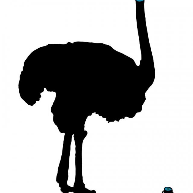 Auf dem Bild ist ein abstrakter, schwarzer Vogel Strauß zu sehen. Der Kopf ist vom Hals abgetrennt und steckt noch in der Erde. Artist: Makode Linde. Title: Al. Maetrial: Lithograph on Keycolour snow white Cotton Paper. Size: 40 x 30 cm. Year: 2016