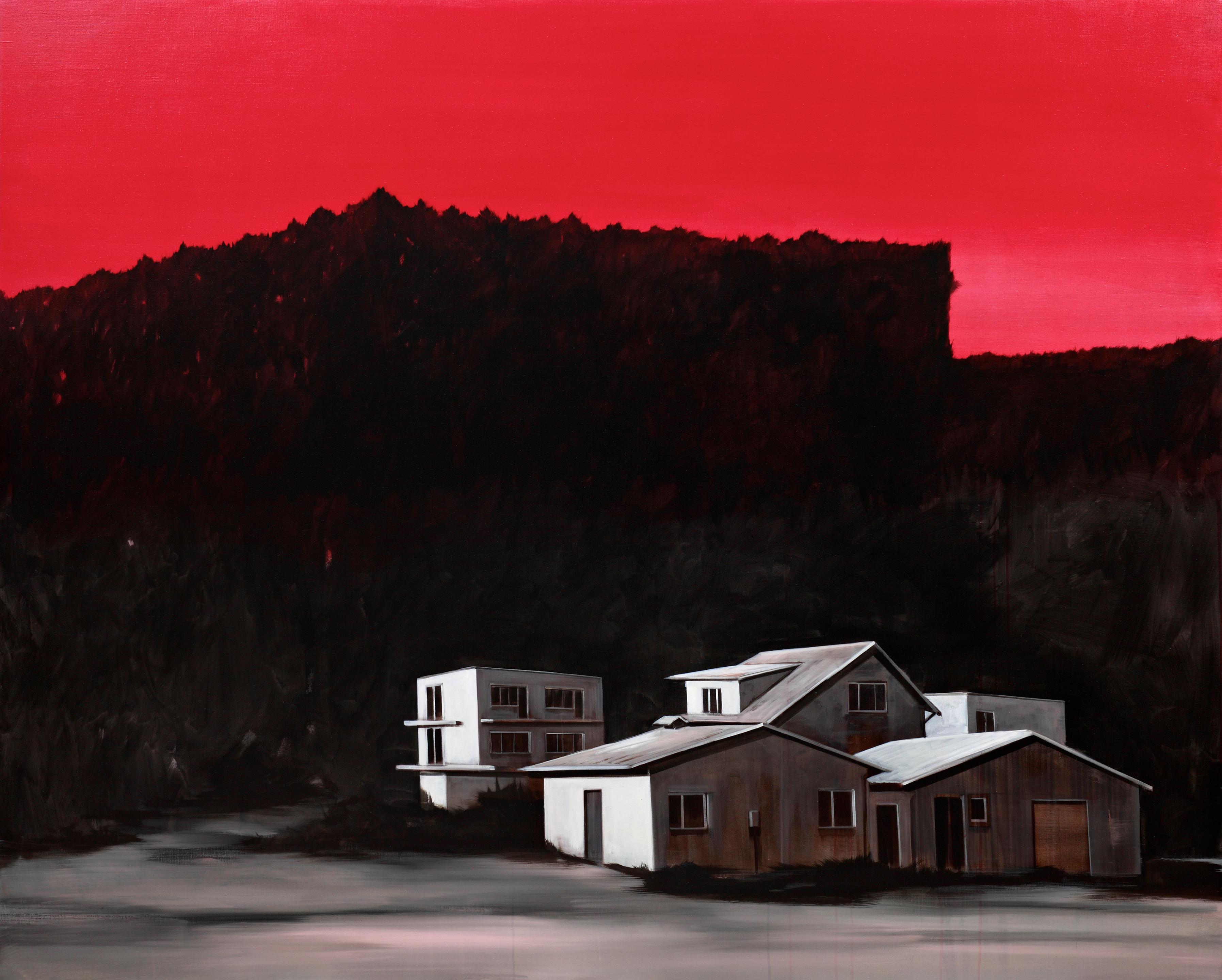 Auf dem Bild sind hell gemalte Häuser vor einem schwarzen Hintergrund mit rotem Himmel zu sehen. Artist: Roman Lipski. Title: Untitled (Red Sky). Material: Acrylic on Canvas. Size: 200 x 250 cm. Year: 2012