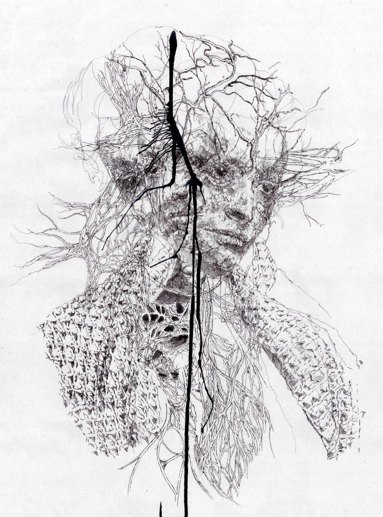 Auf der Zeichnung ist ein verästeltes Gesicht zu sehen. Artist: Masha Matzke. Title: Madonna in Decay II. Material: Ink on handmade Himalaya Dekar Bütten Paper. Size: 70 x 55 cm. Year: 2016