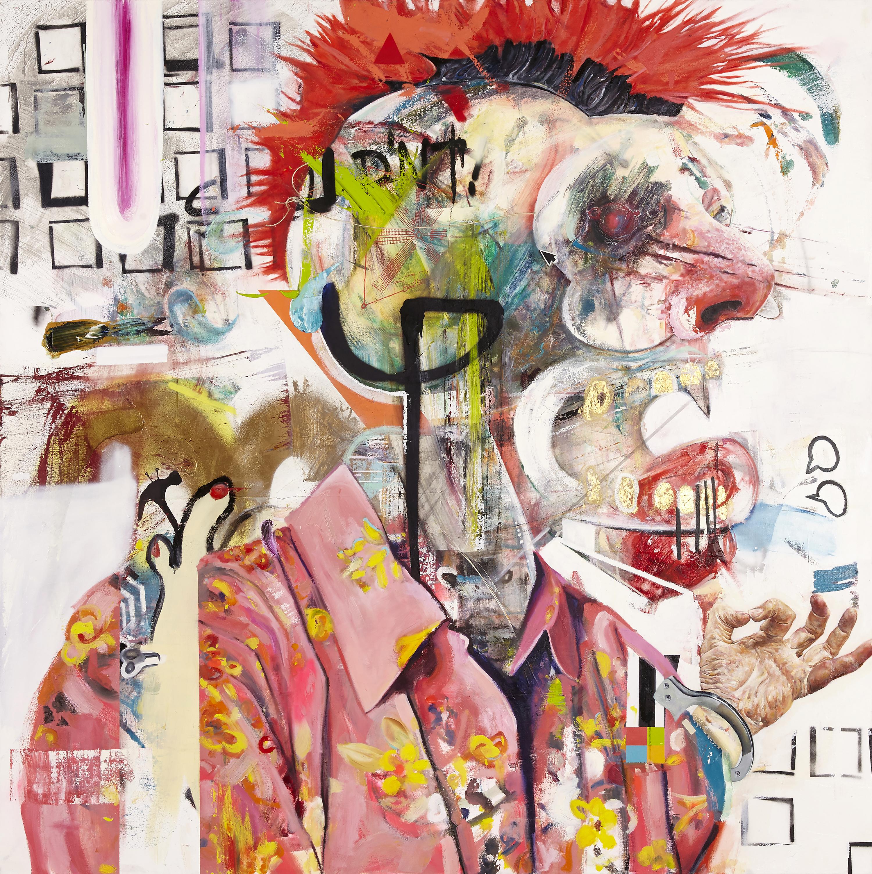 Auf dem Bild ist eine bunte, wilde Collage zu sehen auf der ein Punk weit seinen Mund aufreißt. Artist: Wyatt Mills. Title: Panopticon. Material: Oil and mixed Media on Canvas. Size: 172 x 172 cm. Year: 2016