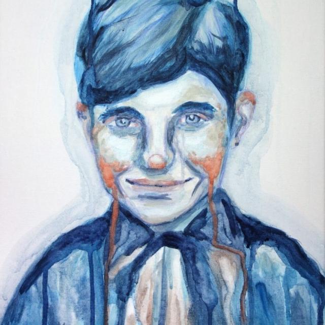 Auf dem Bild ist das Portrait eines Jungen zu sehen, das in Blautönen gemalt wurde und den Eindruck vermittelt, dass es zerfließen würde. Artist: Doménico C. V. Talarico. Title: Boy with Bow. Material: Oil on Canvas. Size: 40 x 30 cm. Year: 2016