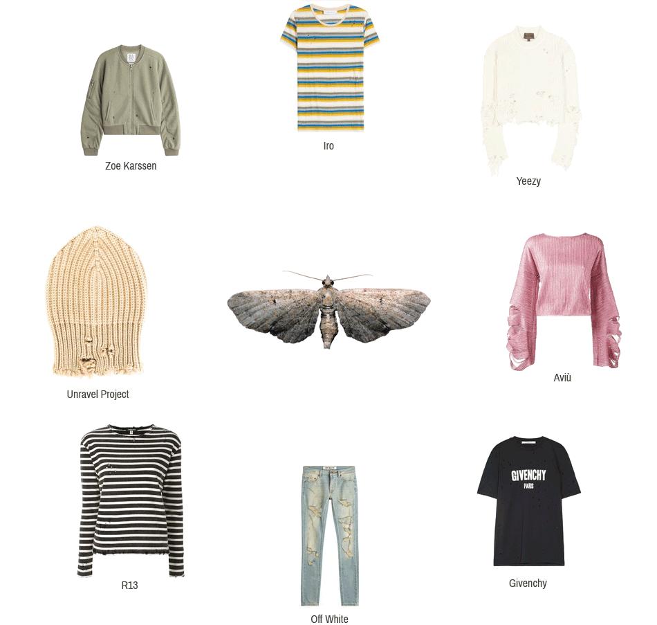 Dieses Bild zeigt Kleidungsstücke und Accessoires zum destroyed Trend von folgenden Marken: Iro, Yeezy, Aviù, Givenchy, Off White, R13, Unravel Project und Zoe Karssen.