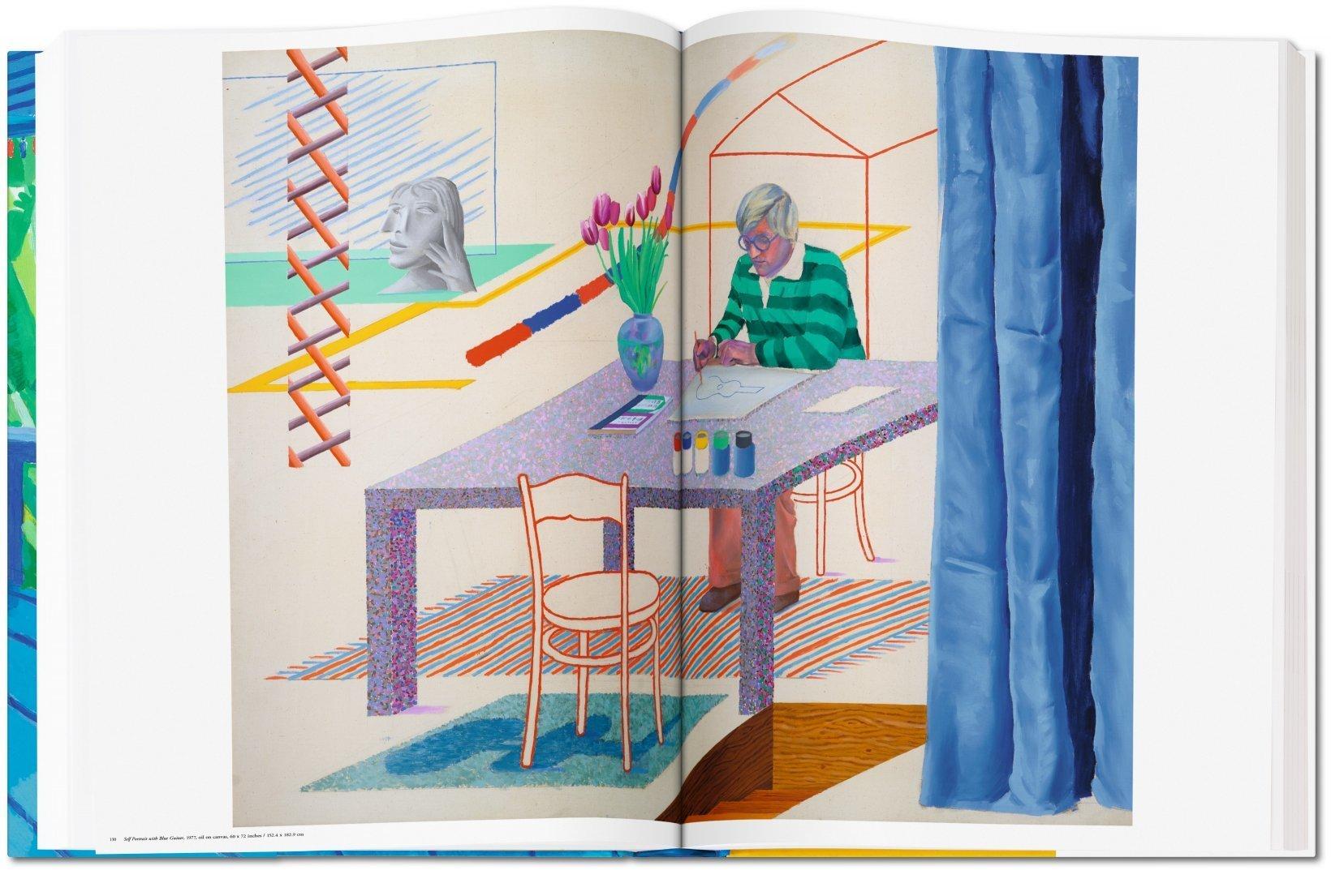 """Auf dem Foto ist das Gemälde """"Self-Portrait with Blue Guitar, 1977"""" aus dem Buch: David Hockney - A Bigger Book, das im TASCHEN Verlag erschienen ist."""