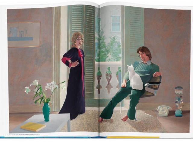 """Das Foto zeigt das Gemälde """"Mr. and Mrs. Clark and Percy, 1970–1971"""" aus dem Buch: David Hockney - A Bigger Book, das im TASCHEN Verlag erschienen ist."""