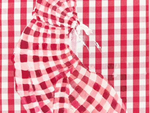 Auf dem Bild ist der gemalte Tageshase mit der Nummer: #0359 von der Künstlerin Tina Oelker zu sehen. Es handelt sich um einen rot-weiß karierten mit Ölfarbe gemalten Meister Lampe vor rot-weiß kariertem Hintergrund.