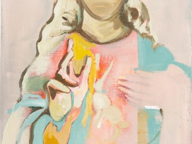 Auf dem Bild ist der gemalte Tageshase mit der Nummer: #0413 von der Künstlerin Tina Oelker zu sehen. Er ist in Pastell-Tönen auf die Brust einer Mutter Gottes gemalt.