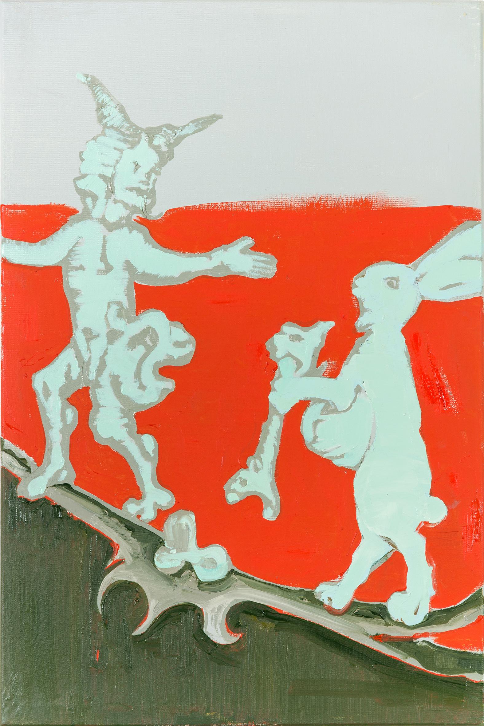 Auf dem Bild ist der gemalte Tageshase mit der Nummer: #0537 von der Künstlerin Tina Oelker zu sehen. Es handelt sich um einen hellen mit Ölfarbe gemalten Meister Lampe auf rotem Hintergrund.