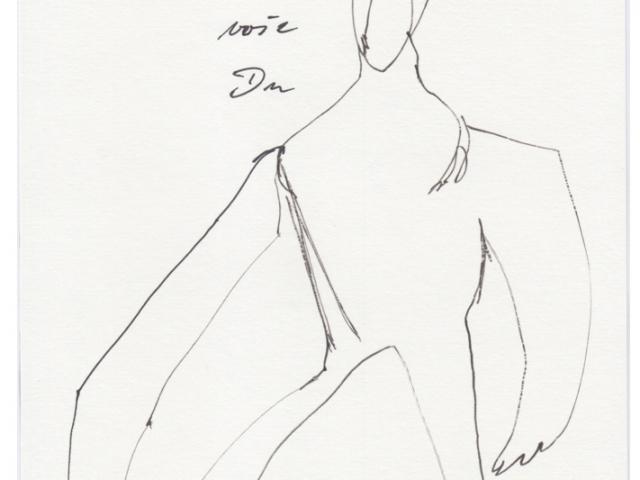 Auf dem Bild ist der gezeichnete Tageshase mit der Nummer: #0732 von der Künstlerin Tina Oelker zu sehen. Es handelt sich um eine Skizze von Meister Lampe.