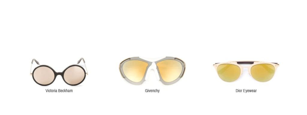 Hier sieht man gelbe Sonnenbrillen von Victoria Beckham, Givenchy und Dior Eyewear.