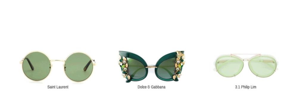 Hier sieht man Sonnenbrillen von Saint Laurent, Dolce & Gabbana und 3.1 Philip Lim.