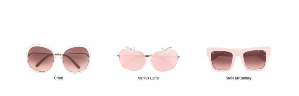 Hier sieht man rosa Sonnenbrillen von Chloé, Markus Lupfer und Stella McCartney.