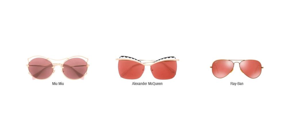 Hier sieht man Sonnenbrillen von Miu Miu, Alexander McQueen und Ray-Ban.