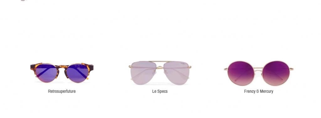Hier sieht man violette Sonnenbrillen von Retrosuperfuture, Le Specs und Frency & Mercury.