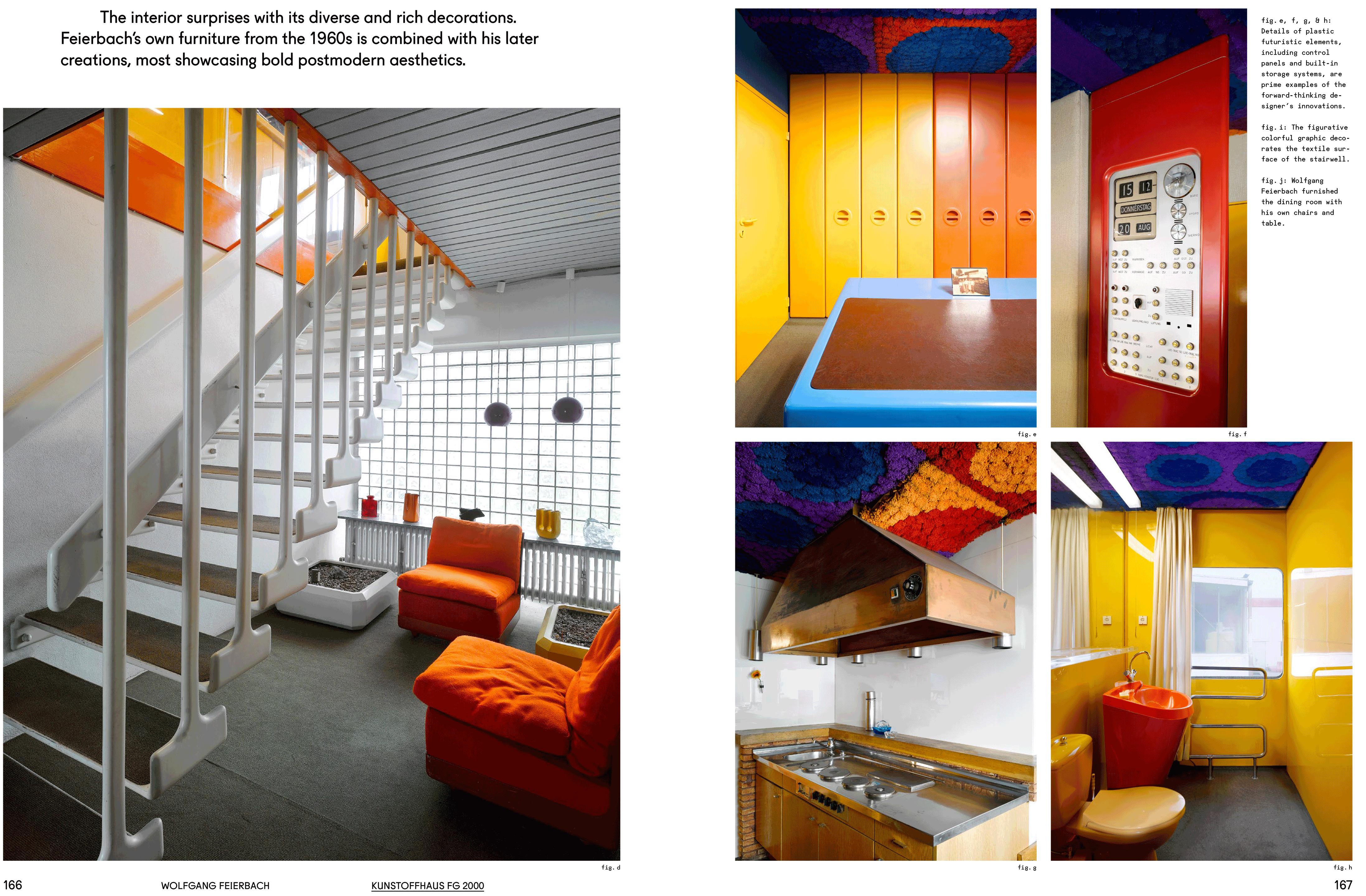 Auf dieser Doppelseite sieht man Eindrücke aus dem Kunststoffhaus FG 2000 des Architekten Wolfgang Feierbach.