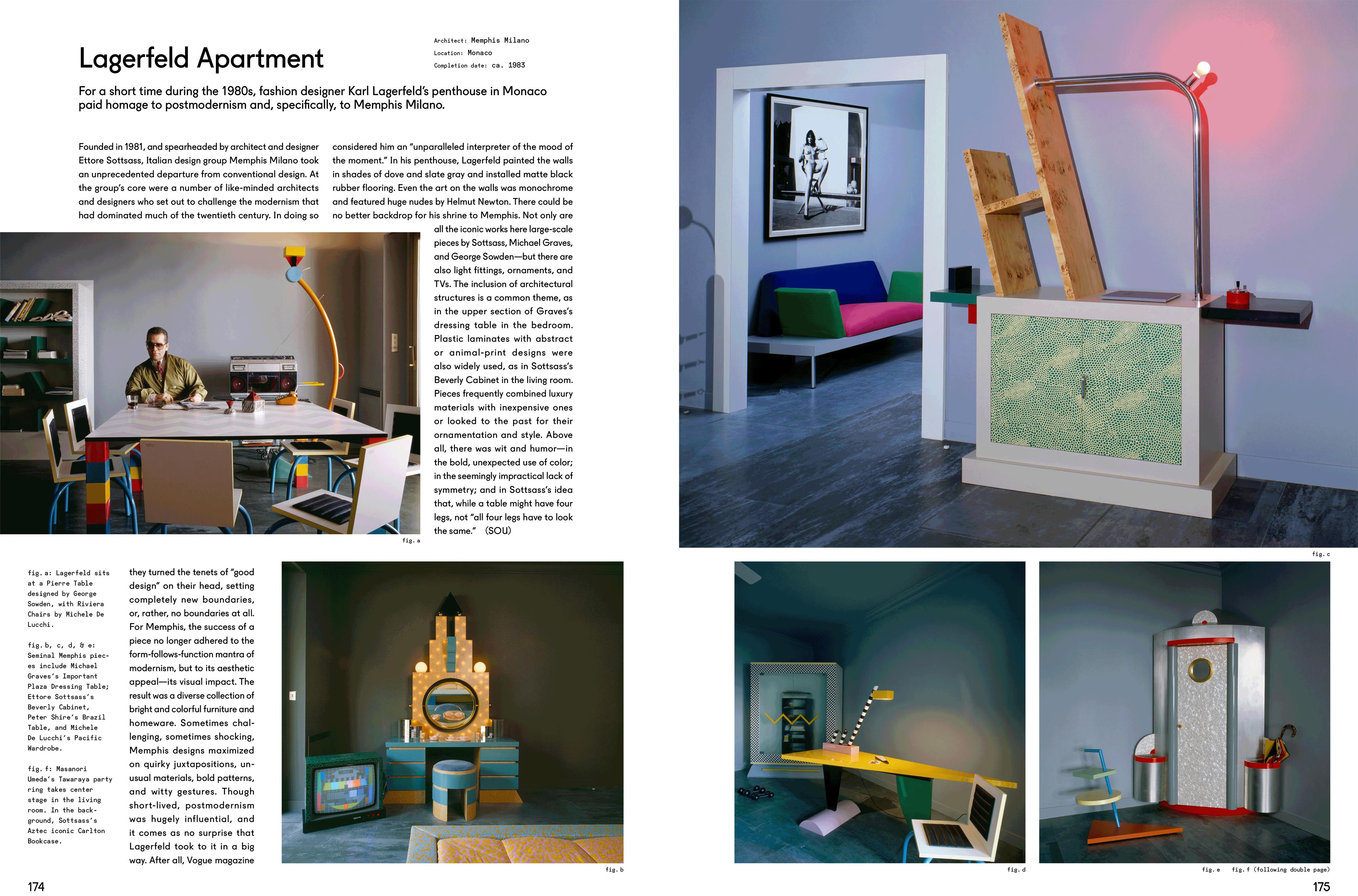 Diese Doppelseite zeigt das Lagerfeld Apartment vom Architekten Memphis Milano.