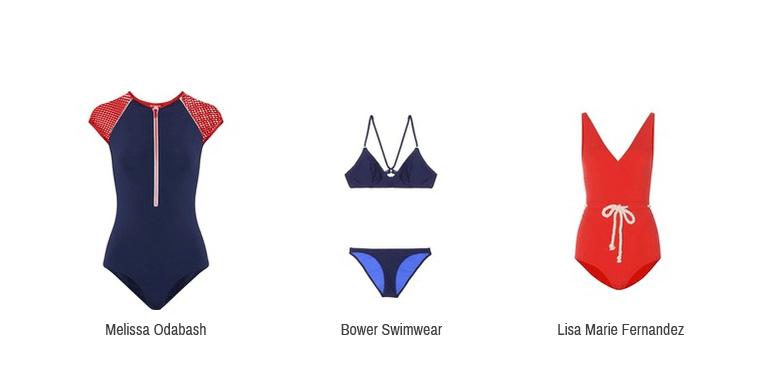 Dieses Bild zeigt athletische Badeanzüge und einen Bikini von Melissa Odabash, Bower Swimwear und Lisa Marie Fernandez.