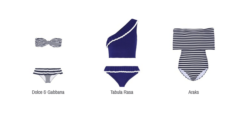 Hier sieht man Bikinis und Badeanzüge im Marine Look von Dolce & Gabbana, Tabula Rasa und Araks.