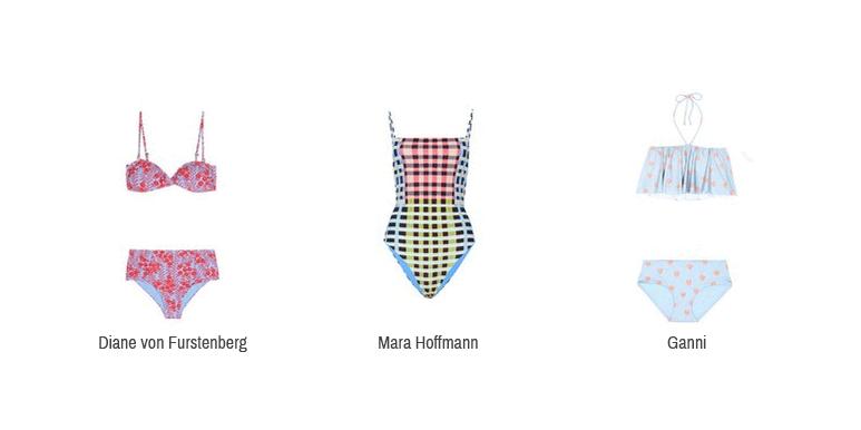 Hier sieht man verspielte Bikinis und einen Badeanzug von Diane von Furstenberg, Mara Hoffmann und Ganni.