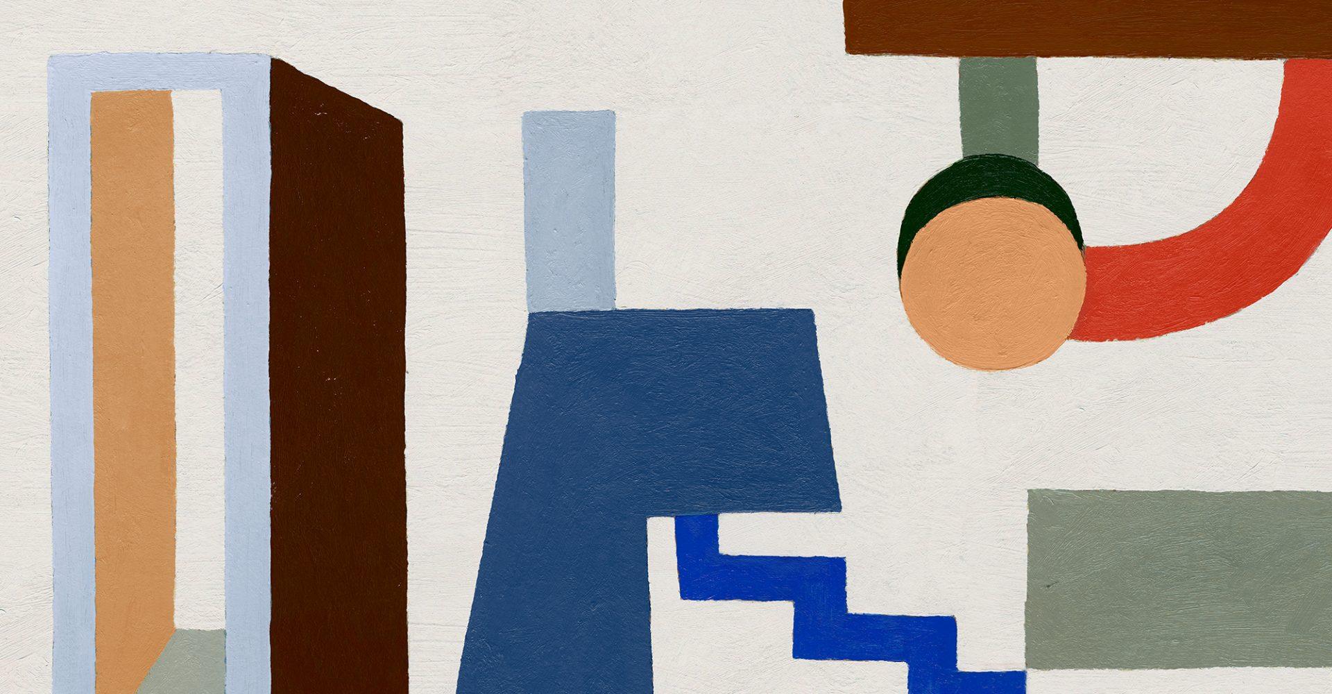 Auf dem Bild sind abstrakte geometrische gemalte Gegenstände zu erkennen. das Bild bewirbt als Artwork die Room Sprays von Aesop.
