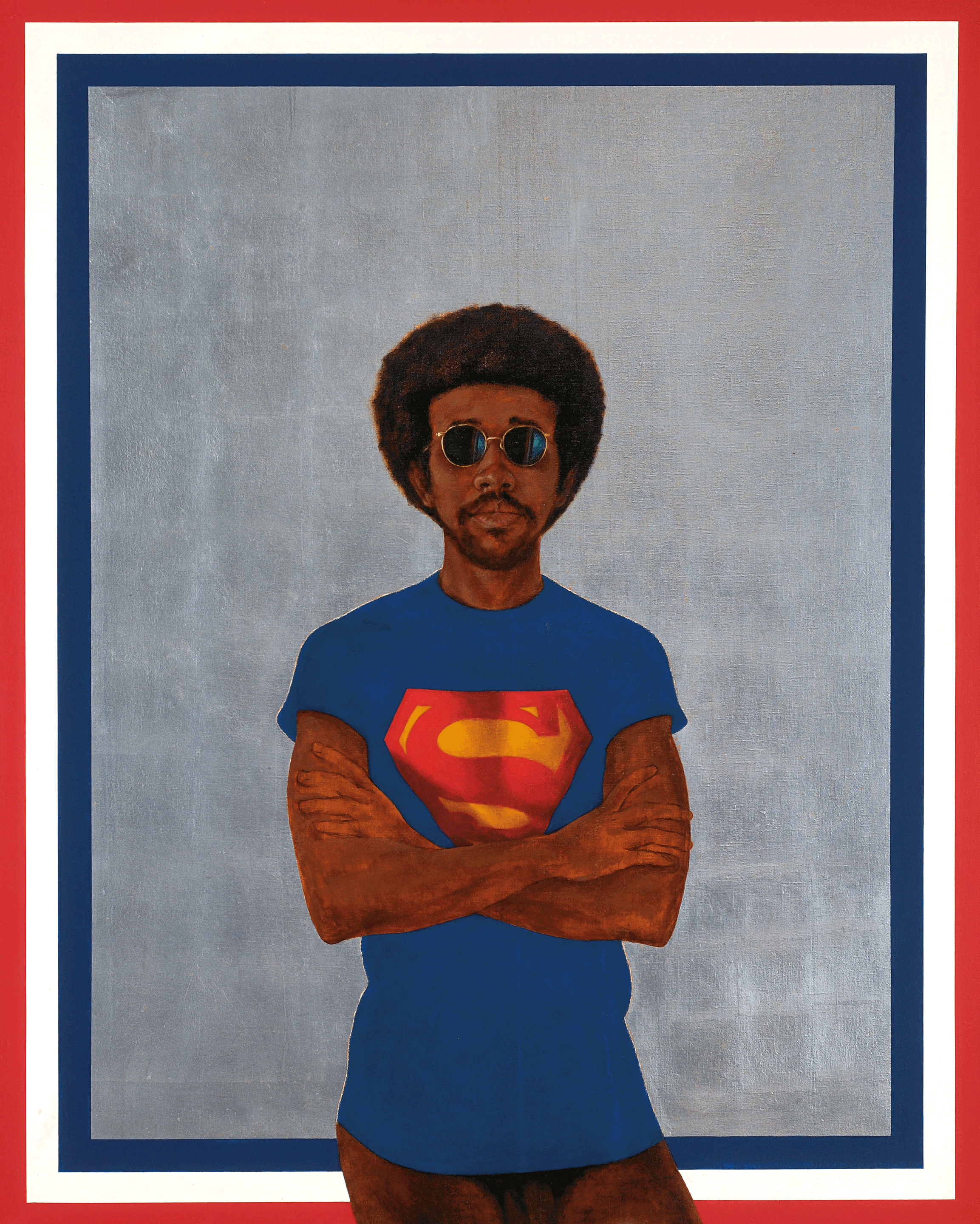 Icon for My Man Superman (Superman Never Saved any Black People--Bobby Seale) von Barkley L. Hendricks, 1969, Collection of Liz and Eric Lefkofsky, Copyright: Barkley L. Hendricks, Courtesy of the artist and Jack Shainman Gallery, New York