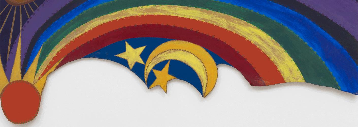Dieses Bild zeigt das Kunstwerk Rainbow Mojo von Betye Saar. Es wird im Rahmen der Soul of a nation Ausstellung im Tate Modern Museum in London gezeigt.