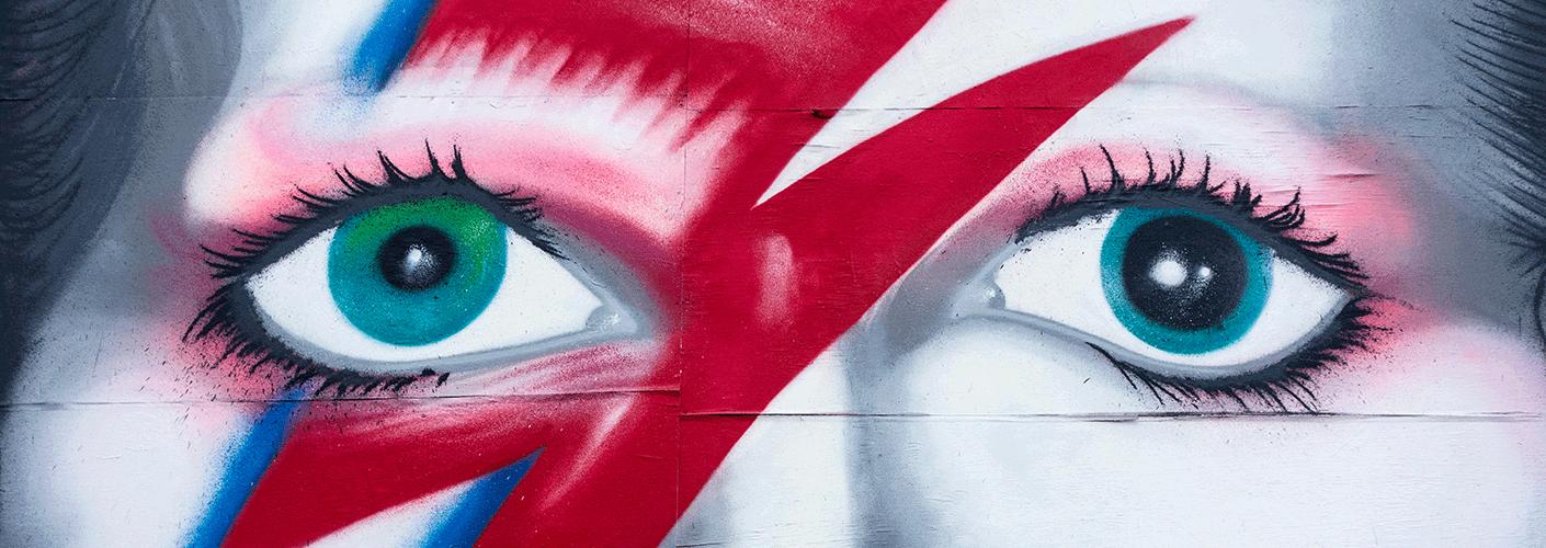 Dieses Graffiti zeigt David Bowie als Ziggy Stardust.