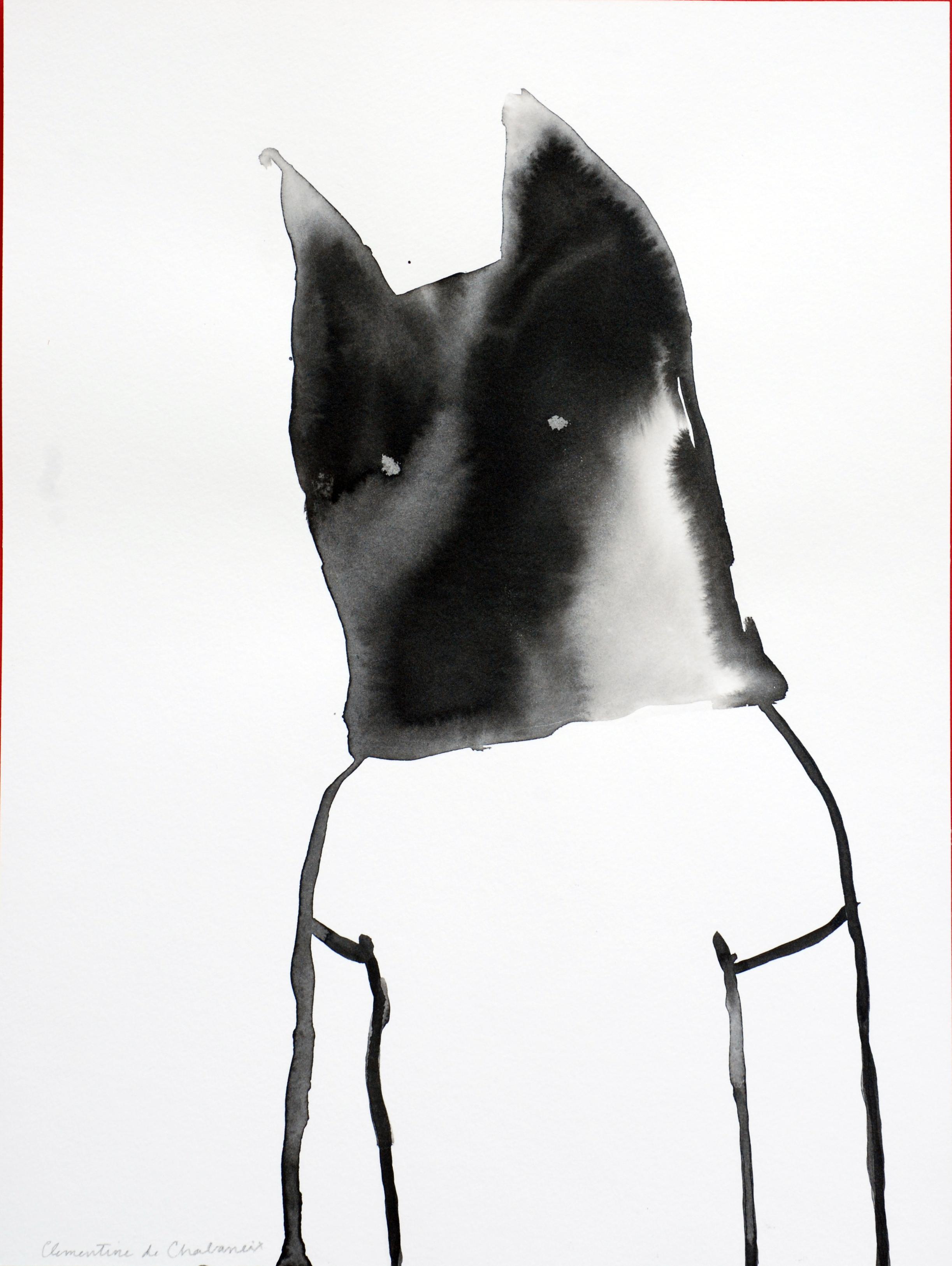 Es handelt sich um ein Bild der Künstlerin Clémentine de Chabaneix, auf dem ein Mädchen zu sehen, das eine schwarze Maske mit Katzenohren über dem Kopf trägt.