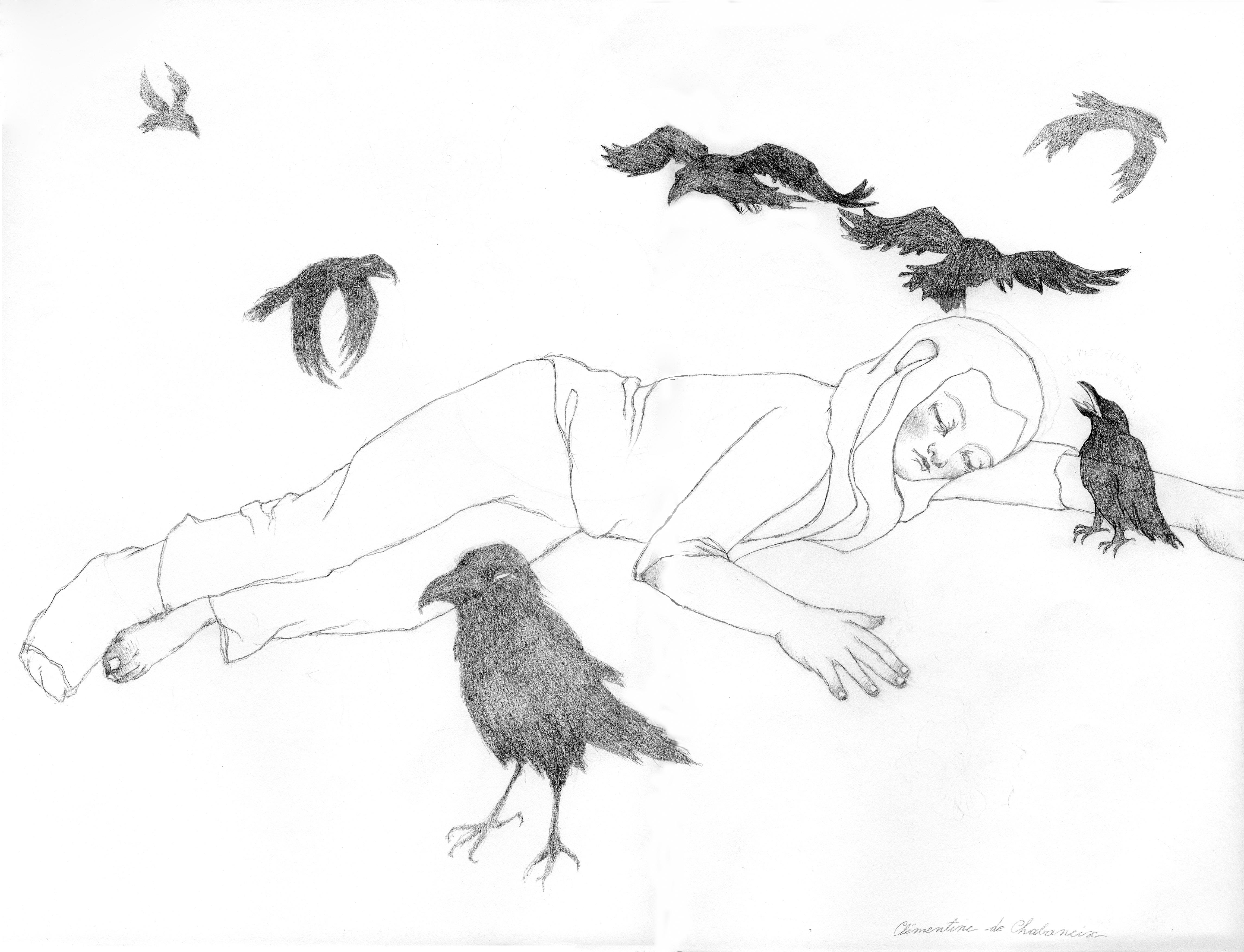 Hier handelt es sich um eine Zeichnung der Künstlerin Clémentine de Chabaneix. Ein Mädchen mit einem Gipsfuß liegt am Boden und ist umringt von Krähen.