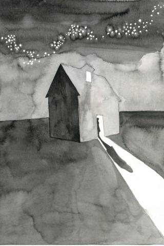 """Hier handelt es sich um die Zeichnung """"Nuit Monstre"""" von der Künstlerin Clémentine de Chabaneix."""