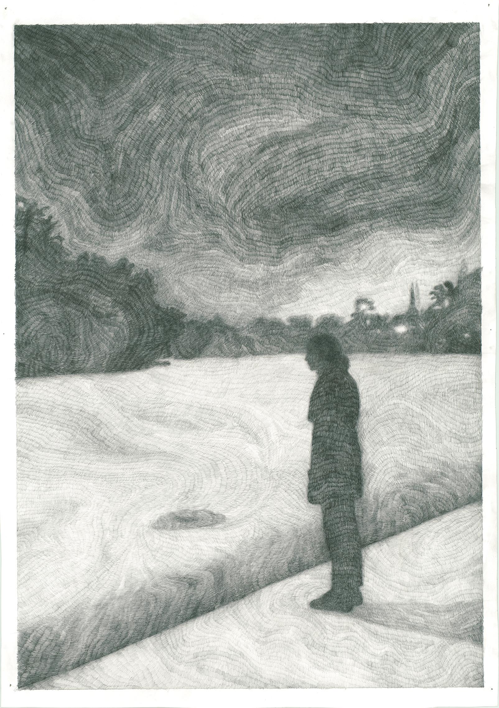 """Hier handelt es sich um die Zeichnung """"La frontière"""" von der Künstlerin Clémentine de Chabaneix."""