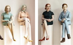 Auf dem Foto sind vier Pappmacheé-Skulpturen von der Künstlerin Annette Meincke-Nagy zu sehen.