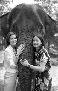 Auf dem Foto sind die Schwstern Nadia und Nancy Koch zu sehen. Sie stehen vor einem Elefanten und betreiben zusammen das Label NACH Bijoux.