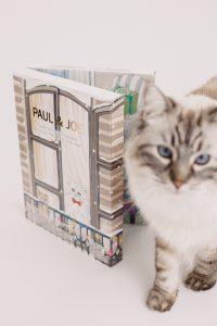 Auf dem Foto ist eine Katze zu sehen. Sie steht neben dem augeklappten Adventskalender von Paul & Joe Beauté-