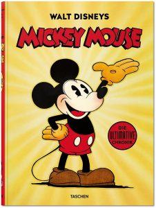 Cover des Buches: Walt Disneys Mickey Mouse - Die ultimative Chronik. Zu sehen ist Mickey Mouse, wie sie lachend ihre linke Hand in die Luft streckt.