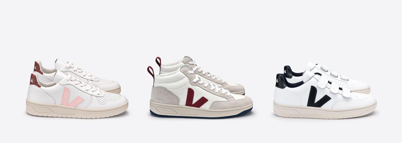 Auf dem Bild sind 3 Paar Sneaker vom nachhaltigen Label Veja zu sehen.