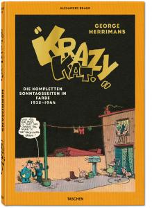 Das Foto zeigt das Cover des neuen Buches aus dem Taschen-Verlag mit dem Titel: Krazy Kat - die kompletten Sonntagsseiten in Farbe 1935-1944 von Comiczeichner Gerorge Herrimans